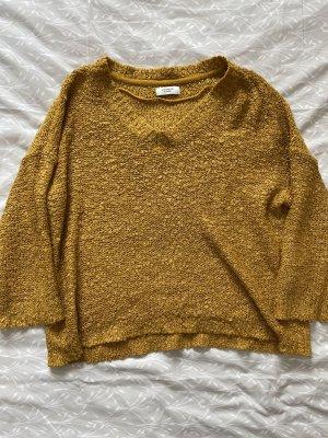 Jaqueline de Yong Crochet Sweater gold orange
