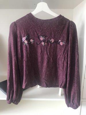 Crop Pullover mit Bestickung