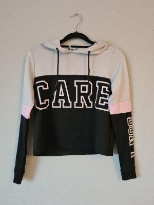 """Crop Pullover schwarz hellgrau rosa mit Schrift """"Don't care"""" New Yorker Größe XS"""