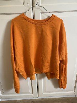 Crop Pullover Sweatshirt orange leuchtend weich