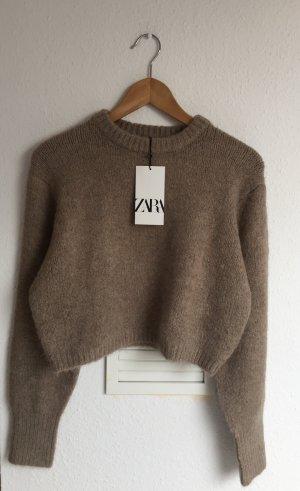 Crop Pullover Zara Braun S neu
