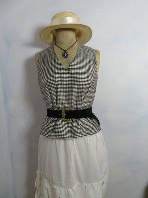 Crop Schwarz Weiß Vichy Karo Seidenhemd - Top Oberteil Bluse - Größe S - Seidenbluse