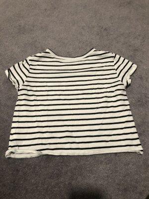 H&M Cropped Shirt white-black
