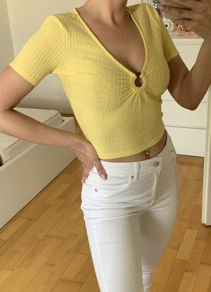 Pull & Bear Camicia cropped giallo pallido
