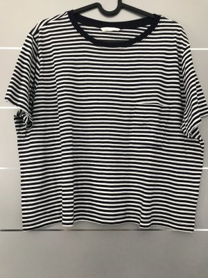 H&M Cropped shirt wit-donkerblauw