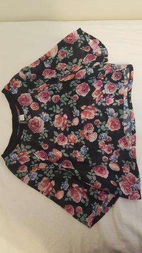 Crop T-Shirt Bluse mit rosen