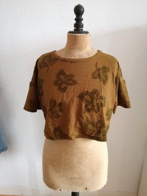 Crop T-Shirt in kahki von Zara mit Samtmotiv
