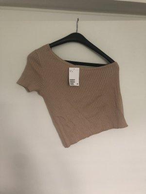H&M T-shirt court beige