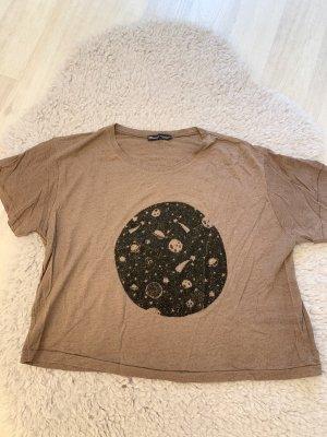 Zara Basic Cropped shirt camel-zwart