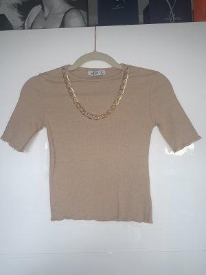 T-shirt court doré-beige