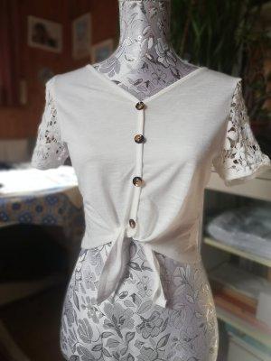 Crop Top Bluse mit Spitze