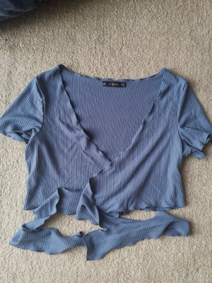 Zaful Cropped Top slate-gray-pale blue