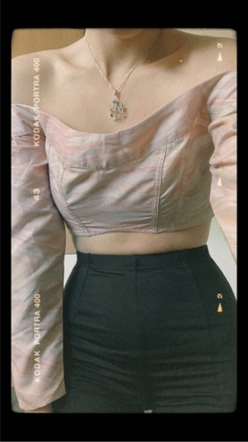 Vintage Off the shoulder top veelkleurig