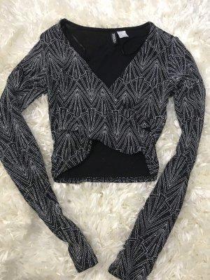 H&M Top cut-out grigio-nero