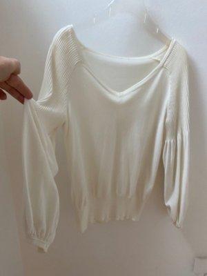 Maglione con scollo a V bianco-bianco sporco