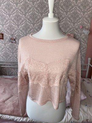crop top langarm shirt rosa mit Spitze Gr.Xs von H&M