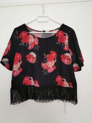 H&M Top met franjes zwart-rood