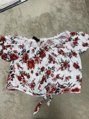 H&M Divided Top o skróconym kroju biały-czerwony