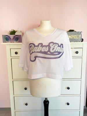 H&M T-shirt court blanc-lilas