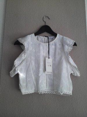 Crop-Top mit Volantdetail, Blumenstickerei und Nieten, Zara Premium Collection, Obermaterial 100% Baumwolle, Größe M neu
