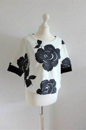 Boutique Koszula o skróconym kroju biały-ciemnoniebieski