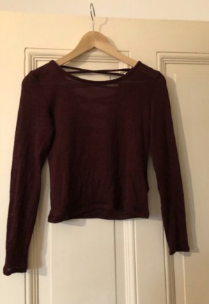 H&M T-shirt court brun pourpre