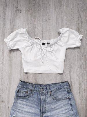 Boohoo Camicia cropped bianco