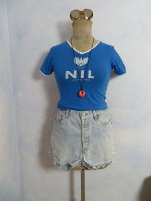 Crop Vintage Blau Weiß Nil Merchandising Shirt Size S oldschool Print T-Shirt Hemd