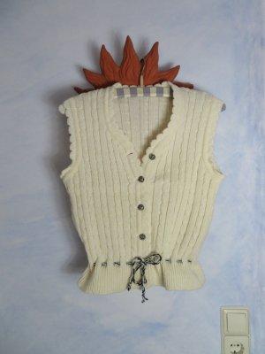 Crop Wollweißes Trachten Westchen - Gr. 36 -  Zopf Strickjacke - Strick Weste - Vintage