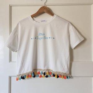 Croped T-Shirt mit Fransen