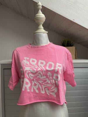 CROPP T-shirt court rouge fluo-blanc