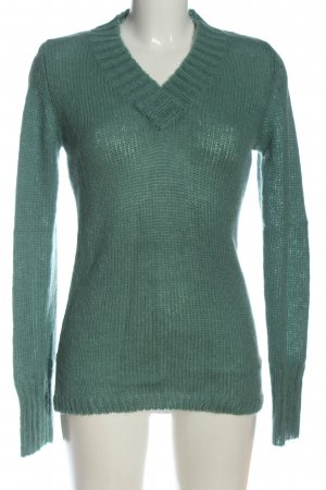 CROPP V-Neck Sweater turquoise cable stitch casual look