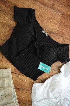 Cropped bardot Shirt schwarz 38 von Catzara