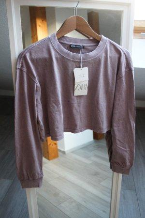 Cropped batikshirt Zara flieder S