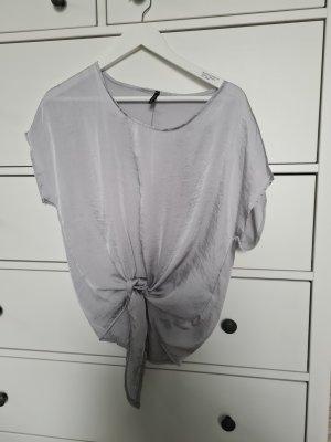 Cropped Bluse hellgrau, glänzend