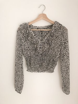 Cropped Bluse mit Animalprint in S