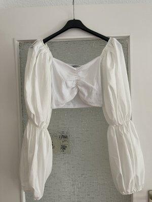 cropped bluse mit ballonärmeln in weiß creme