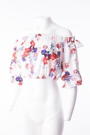 Cropped-Bluse mit floralem Print One Size NEU