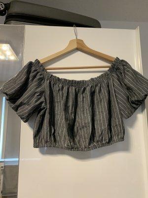 Cropped Bluse mit Streifen