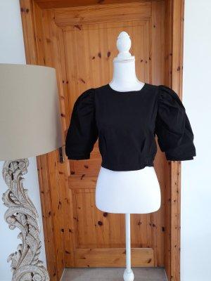 Cropped Bluse von Bershka Gr. M Puffärmel Reißverschluss im Rücken