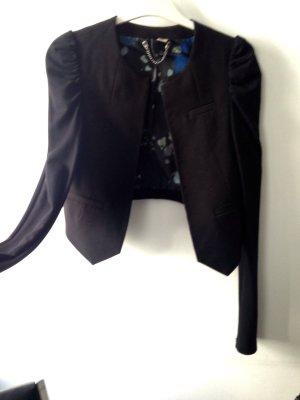 Cropped Jacket Kurze Jacke Blazer Spencer Bolero Puffärmel Schwarz