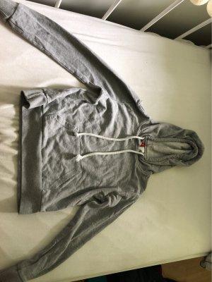 Cropped Kapuzenpulli in grau