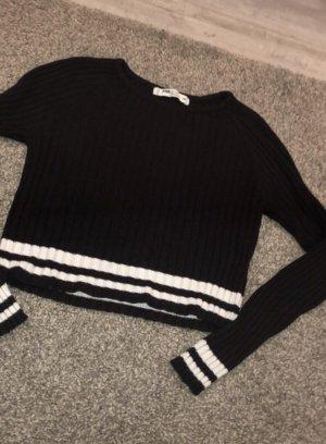 Cropped Longsleeve schwarz weiß