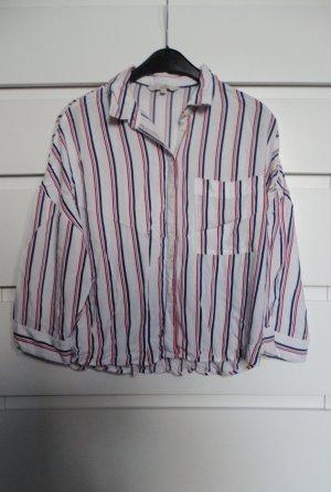 Cropped Oversize-Bluse gestreift mit 3/4-Ärmel