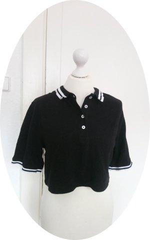 H&M Cropped Shirt black-white cotton