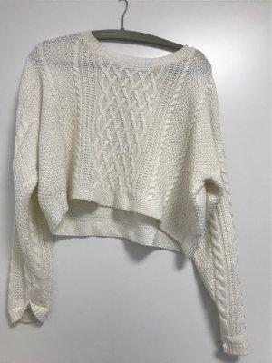 Jersey de ganchillo blanco puro-crema