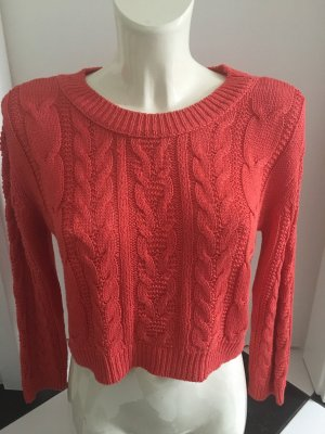 Mango Cable Sweater bright red