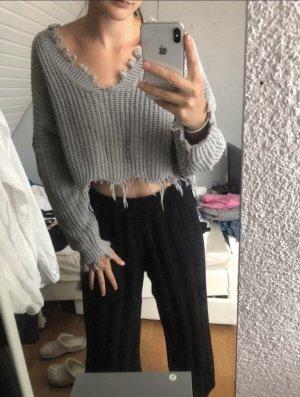 Zaful Szydełkowany sweter szary