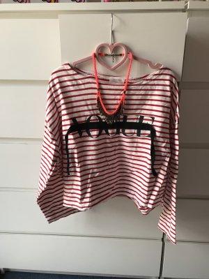 Maglione oversize bianco-rosso