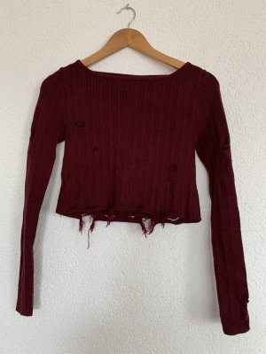 Cropped pullover destroyed look Bordeaux dunkel rot